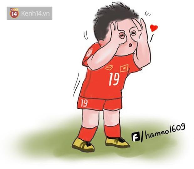 Các cầu thủ đội tuyển Việt Nam bình thường trên sân mạnh mẽ là thế, nay bỗng hóa cute dưới nét vẽ chibi siêu đáng yêu - Ảnh 4.