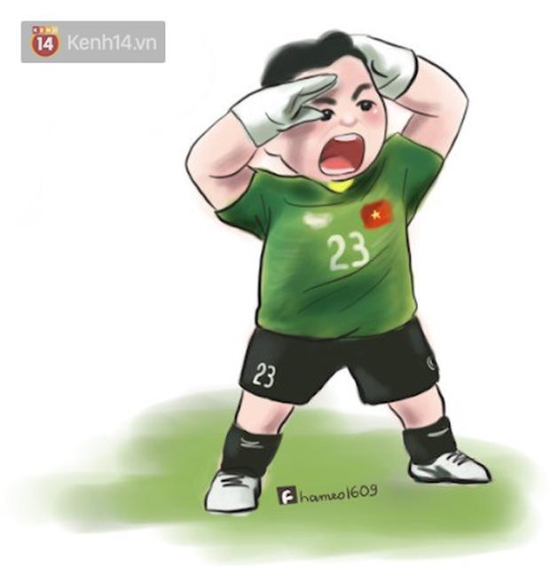 Các cầu thủ đội tuyển Việt Nam bình thường trên sân mạnh mẽ là thế, nay bỗng hóa cute dưới nét vẽ chibi siêu đáng yêu - Ảnh 3.