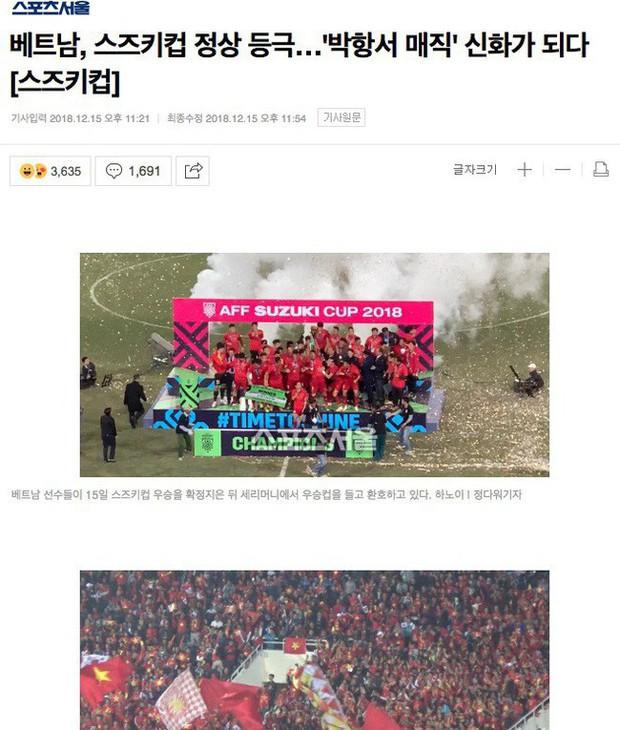 Báo chí Hàn Quốc đồng loạt gửi lời chúc mừng tới thầy trò HLV Park Hang-seo sau chiến thắng lịch sử - Ảnh 2.