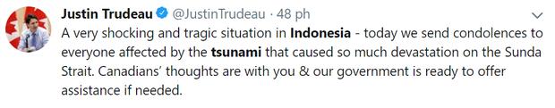 Tổng thống Mỹ, Thủ tướng Canada và nhiều người nổi tiếng bàng hoàng trước thảm họa sóng thần tại Indonesia - Ảnh 4.