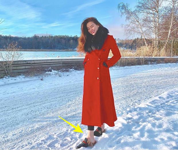 Chụp ảnh với đôi chân trần trên tuyết, nhìn lạnh quá ai đưa tất cho chị Hồ Ngọc Hà với! - Ảnh 2.