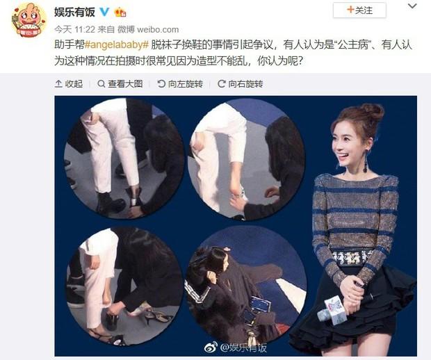 """Angela Baby bị tố """"bệnh ngôi sao"""" khi để stylist thay giày, cởi tất nhưng vẫn được netizen bênh vực hết lời - Ảnh 3."""