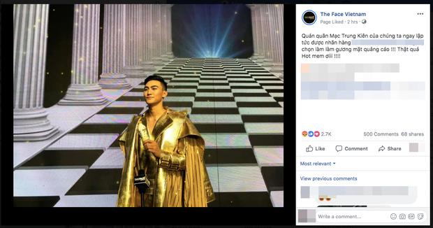 Đăng ảnh thông báo Quán quân là Mạc Trung Kiên, fanpage The Face Vietnam nhận về cả trời phẫn nộ - Ảnh 1.