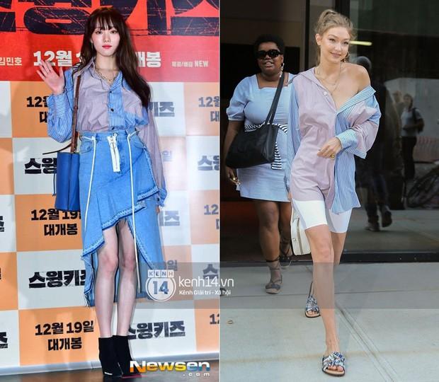 """Quả là Gigi Hadid, diện áo """"luộm thuộm"""" như Lee Sung Kyung mà trông khác biệt hoàn toàn - Ảnh 9."""