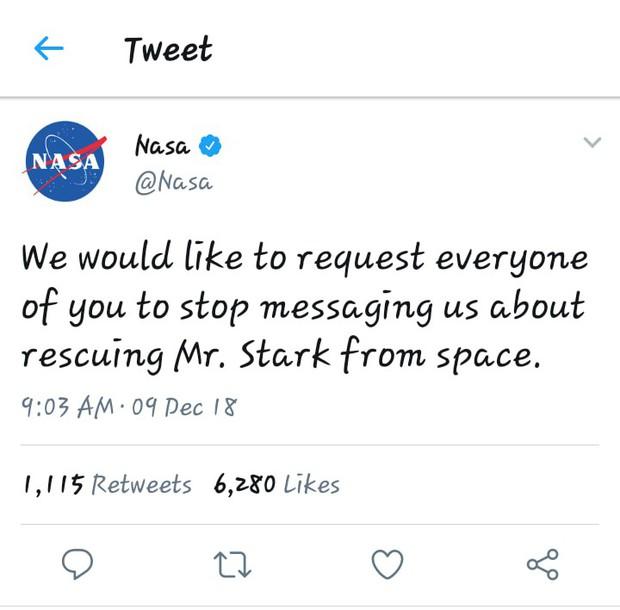 NASA kêu gọi fan ngừng nhắn tin đòi đi cứu... Iron Man? - Ảnh 1.