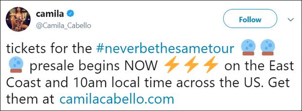 Hứa hẹn một năm 2018 bùng cháy: Camila Cabello mới mở bán đã cháy vé tour solo đầu tiên - Ảnh 1.