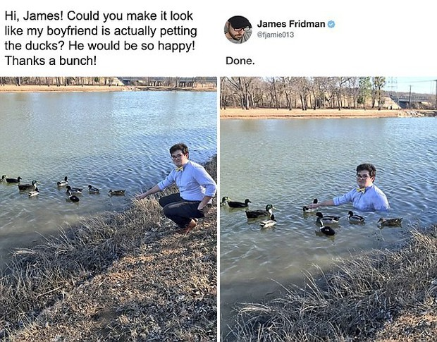 Hàng ngày photoshop chế ảnh người khác, anh chàng lại khiến nhiều người cảm động trước yêu cầu từ một cô gái bị bạn bè bắt nạt - Ảnh 2.