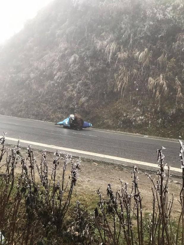 Hàng loạt xe máy trượt ngã trên đỉnh đèo Ô Quy Hồ do băng đóng trên mặt đường - Ảnh 3.