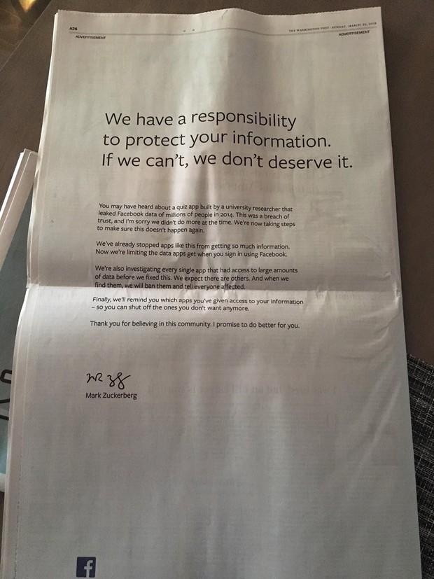 Viết status không ăn thua, Mark Zuckerberg thuê cả quảng cáo trên báo giấy để xin lỗi người dùng - Ảnh 2.
