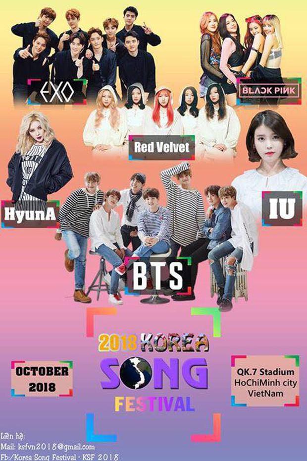 Fan nghi ngờ tin Black Pink, BTS, EXO, Red Velvet về Việt Nam biểu diễn vì poster chương trình trông rẻ tiền - Ảnh 1.