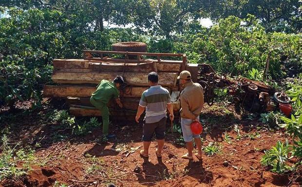 Lật xe công nông chở gỗ lậu, 3 nam thanh niên thương vong - Ảnh 1.