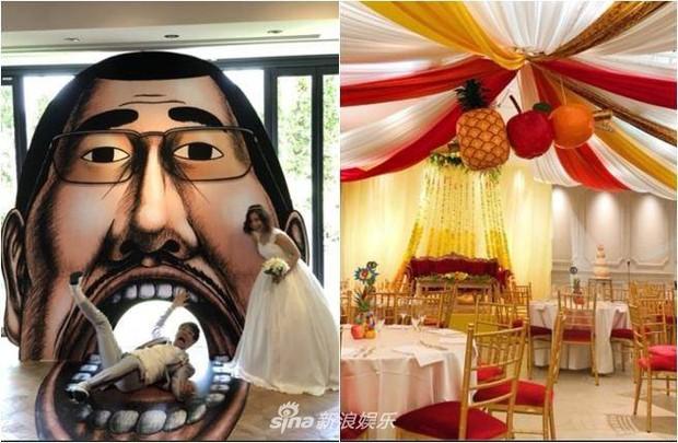 Bà xã Piko Taro (PPAP) ôm bụng bầu 8 tháng mặc váy cưới, táo và dứa trở thành vật trang trí trong hôn lễ - Ảnh 3.