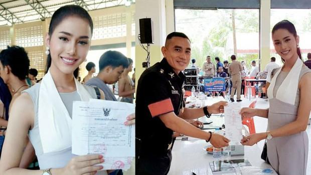 Á hậu và Hoa hậu chuyển giới Thái Lan gây sốt vì quá xinh đẹp khi... đi đăng ký nghĩa vụ quân sự - Ảnh 3.