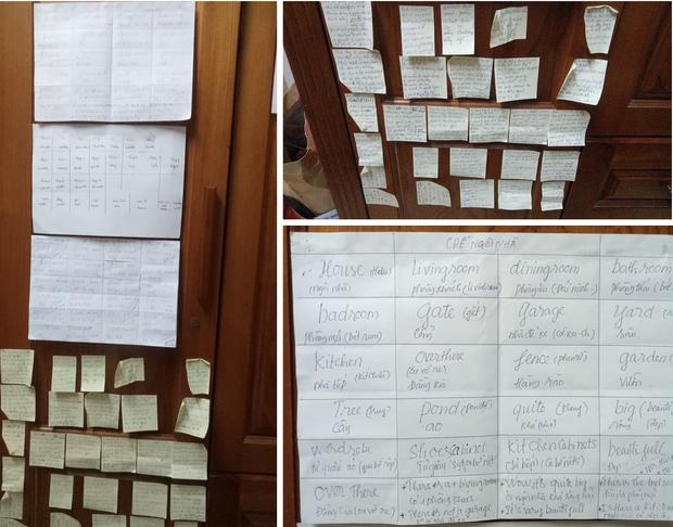 Gương sáng chăm học: Cô trung niên viết từ vựng tiếng Anh kín toilet, dán giấy nhớ đầy nhà cho nhanh thuộc bài - Ảnh 2.