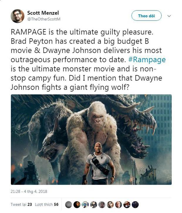 Phim về quái thú khổng lồ Rampage của The Rock được giới phê bình ca ngợi hết lời - Ảnh 1.