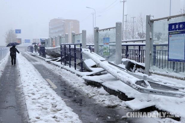 Mưa tuyết, giá lạnh tràn xuống Trung Quốc: Sinh viên cầm ô, xếp hàng lên lớp - Ảnh 15.