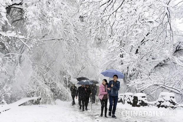 Mưa tuyết, giá lạnh tràn xuống Trung Quốc: Sinh viên cầm ô, xếp hàng lên lớp - Ảnh 13.
