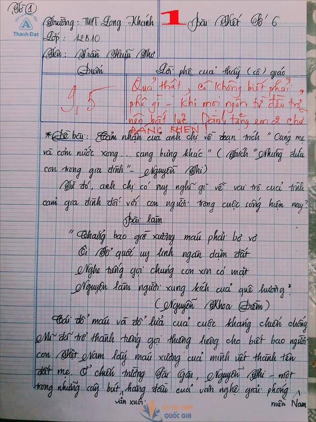 Bài văn 9,5 điểm về tình cảm gia đình khiến cô giáo phải thốt lên: Mọi ngôn từ đều trở nên bất lực! - Ảnh 1.