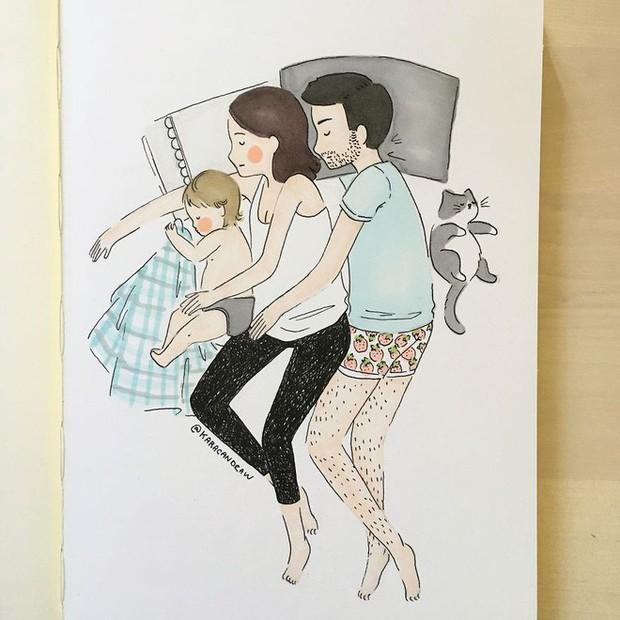 Bộ tranh phản ánh cuộc sống khi ở nhà chăm con của bà mẹ trẻ và nhóc tỳ 2 tuổi - Ảnh 2.