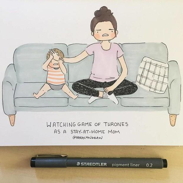 Bộ tranh phản ánh cuộc sống khi ở nhà chăm con của bà mẹ trẻ và nhóc tỳ 2 tuổi - Ảnh 3.
