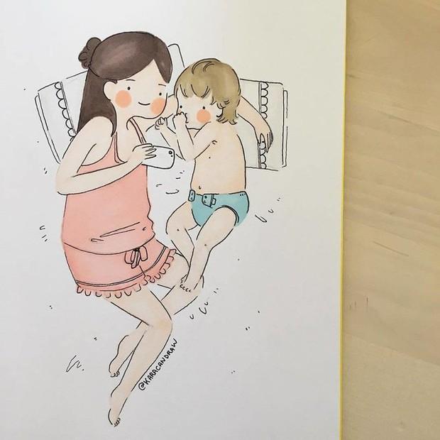 Bộ tranh phản ánh cuộc sống khi ở nhà chăm con của bà mẹ trẻ và nhóc tỳ 2 tuổi - Ảnh 24.
