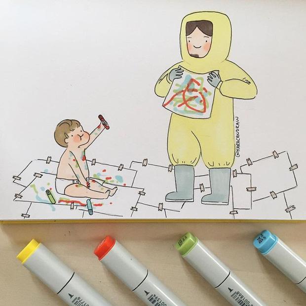 Bộ tranh phản ánh cuộc sống khi ở nhà chăm con của bà mẹ trẻ và nhóc tỳ 2 tuổi - Ảnh 5.