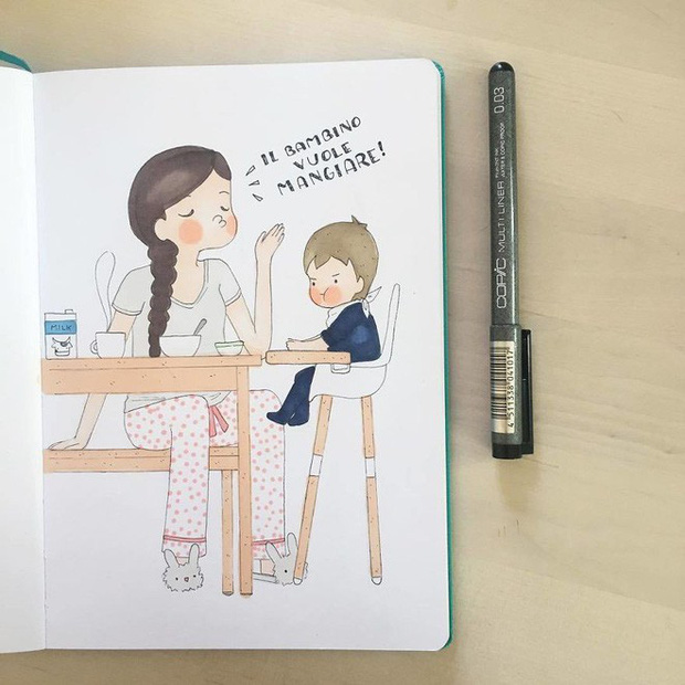 Bộ tranh phản ánh cuộc sống khi ở nhà chăm con của bà mẹ trẻ và nhóc tỳ 2 tuổi - Ảnh 6.