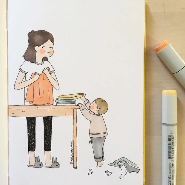 Bộ tranh phản ánh cuộc sống khi ở nhà chăm con của bà mẹ trẻ và nhóc tỳ 2 tuổi - Ảnh 8.
