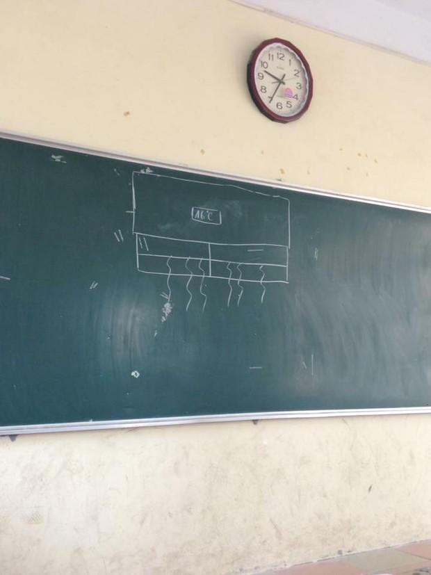 Cách đối phó với cái nóng đầu hè không thể bá đạo hơn của học sinh: Vẽ điều hòa lên bảng và... tưởng tượng! - Ảnh 1.