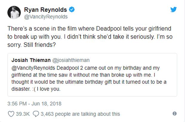 Bất ngờ bị đá sau khi xem Deadpool 2, chàng trai được đích thân Ryan Reynolds xin lỗi - Ảnh 2.