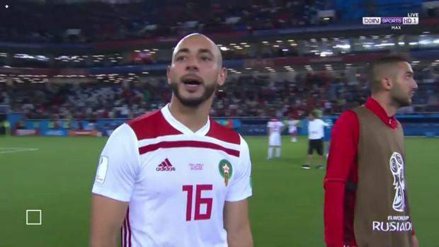 """Bị Tây Ban Nha gỡ hòa, sao Morocco cay cú """"chửi thẳng mặt"""" VAR trên truyền hình - Ảnh 1."""