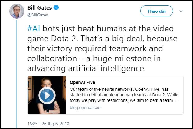 Bill Gates đăng status khen nức nở 5 con AI biết phối hợp chơi DOTA 2 thắng được người  - Ảnh 3.