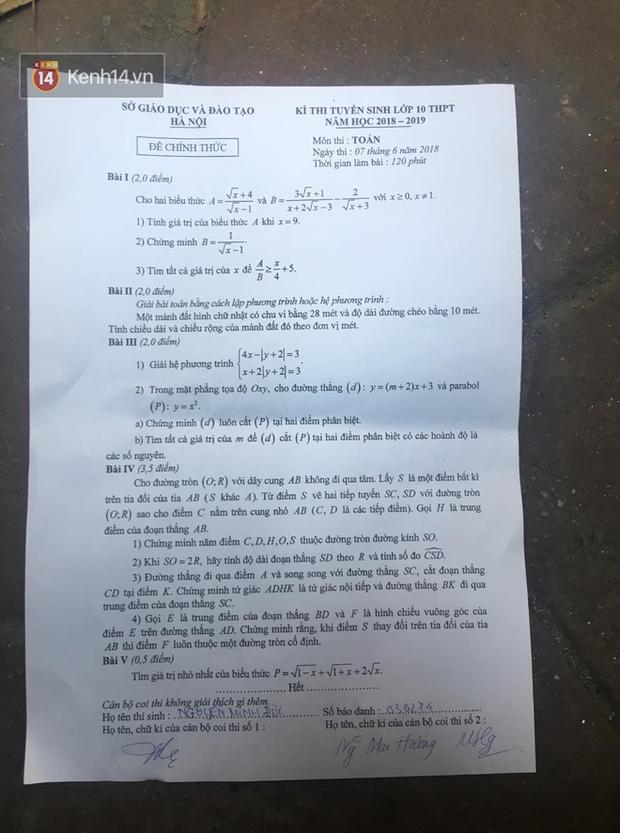 Đáp án đề thi môn Toán tuyển sinh vào lớp 10 tại Hà Nội năm học 2018 - 2019 - Ảnh 6.