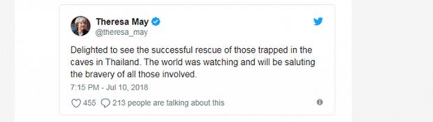 Nguyên thủ thế giới đồng loạt chúc mừng chiến dịch giải cứu đội bóng Thái Lan thành công - Ảnh 2.