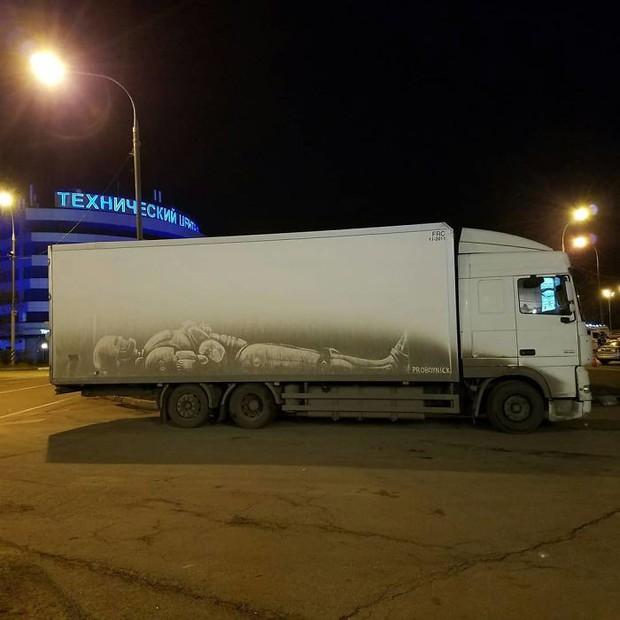 Chàng nghệ sĩ người Nga và những tác phẩm hội họa tuyệt đẹp được vẽ nên từ lớp bụi dày trên ô tô - Ảnh 4.