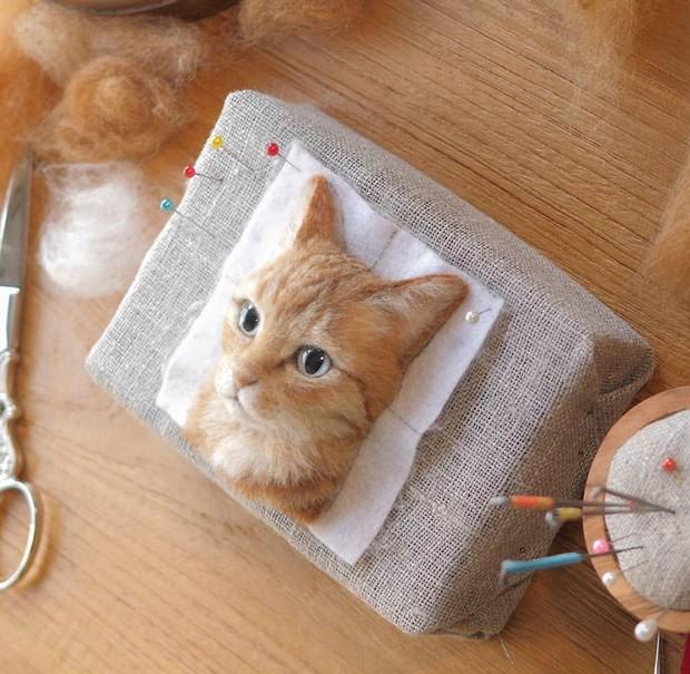 Chỉ bằng những sợi len, các nghệ nhân Nhật Bản đã tạo ra những chú mèo bông y chang ngoài đời - Ảnh 3.