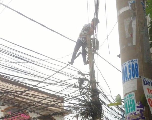 Giải cứu nam thanh niên nghi ngáo đá leo lên cột điện la hét ở Sài Gòn - Ảnh 2.