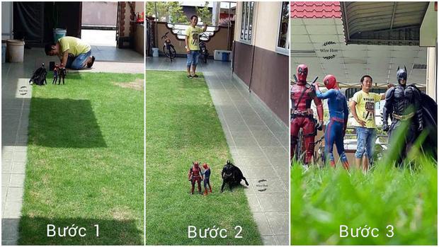 Thanh niên khoe ảnh chụp thân mật cùng cả dàn siêu anh hùng, còn cả gan sai Spiderman, Deadpool và Captain đi bọc đu đủ - Ảnh 2.
