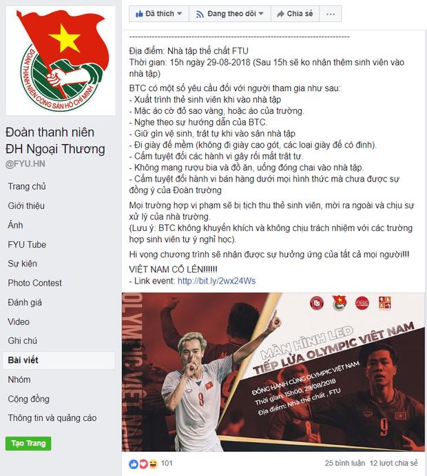 Hàng loạt trường Đại học cho sinh viên nghỉ học, lập đàn cầu nắng để cổ vũ đội tuyển Việt Nam - Ảnh 1.