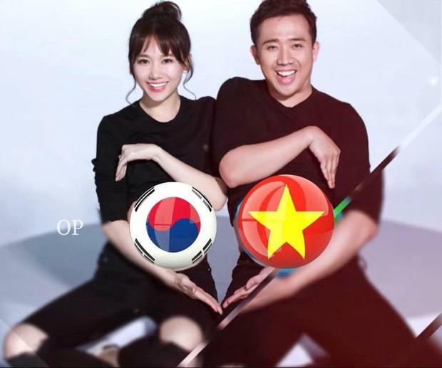 Việt Nam đá với Hàn Quốc chiều nay, nhà Trấn Thành - Hari Won đau đầu không biết nên bắt đội nào? - Ảnh 1.