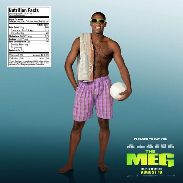 Hết hồn khi poster The Meg tính giá trị dinh dưỡng của người theo khẩu vị... cá mập - Ảnh 3.