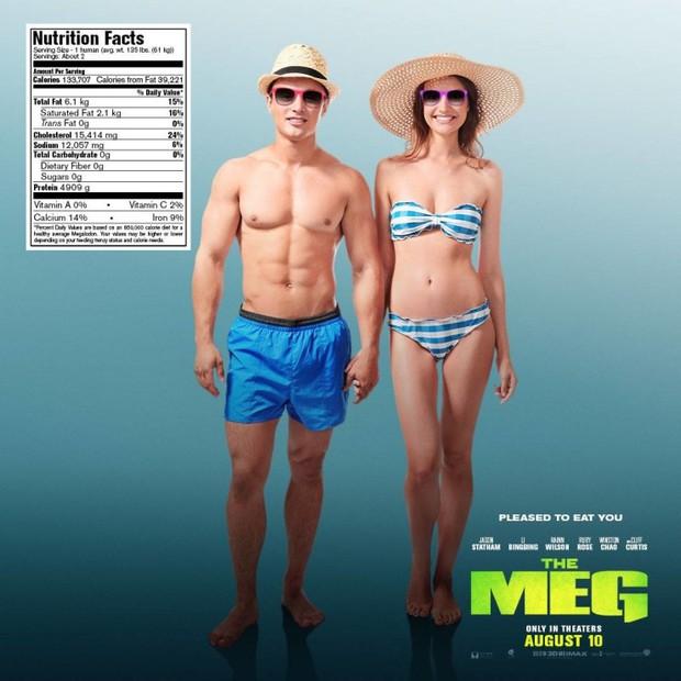Hết hồn khi poster The Meg tính giá trị dinh dưỡng của người theo khẩu vị... cá mập - Ảnh 4.