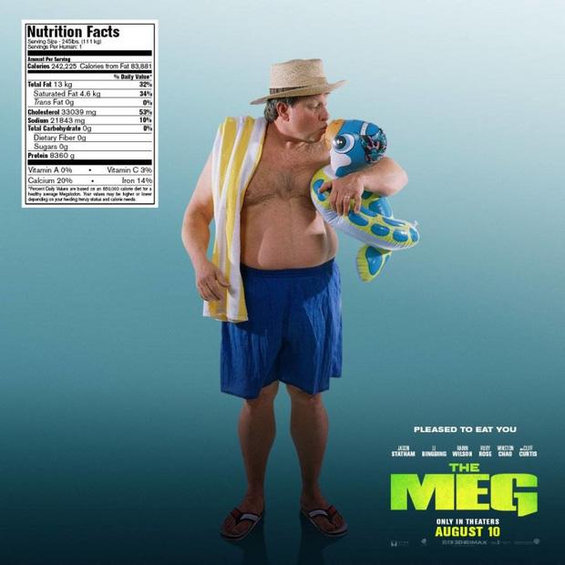 Hết hồn khi poster The Meg tính giá trị dinh dưỡng của người theo khẩu vị... cá mập - Ảnh 5.