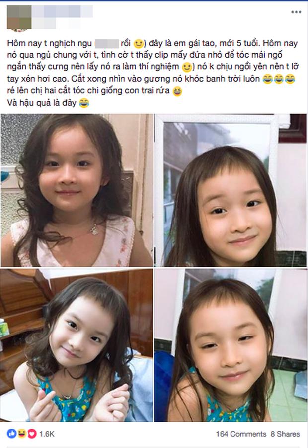 Thấy tóc mái ngố dễ thương, cô chị đem em gái ra làm thí nghiệm nhưng nhìn thành quả qua gương chỉ muốn khóc banh trời - Ảnh 1.