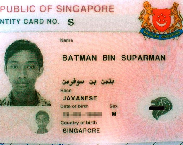 15 cái tên dở khóc dở cười của cư dân mạng quốc tế, có cả người tên là Batman Bin Suparman - Ảnh 1.