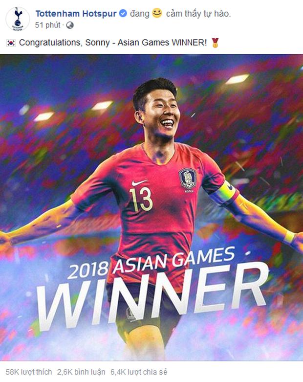 Đội bóng Ngoại hạng Anh chúc mừng Son Heung-min vô địch ASIAD 2018 - Ảnh 1.