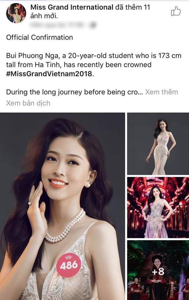Á hậu Phương Nga được khán giả quốc tế khen ngợi khi xuất hiện trên fanpage của Miss Grand International 2018 - Ảnh 1.