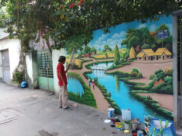 """Xuất hiện tác phẩm """"graffiti phiên bản đồng quê"""" tuyệt đẹp giữa Sài Gòn - Ảnh 1."""