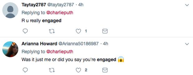 Charlie Puth thông báo đính hôn trên Twitter khiến dân tình hoang mang - Ảnh 2.