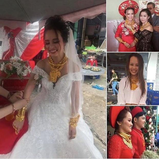 Cô dâu đeo vàng trĩu cổ, kín tay trong ngày cưới: Sau đám cưới đem hết vàng về Đài Loan - Ảnh 2.